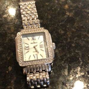 Silver watch with rhinestones